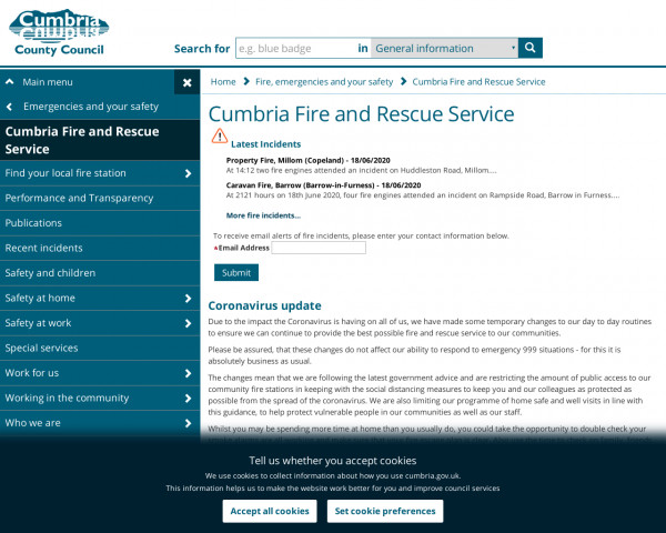 Desktop screenshot of Cumbria Fire and Rescue Service  website
