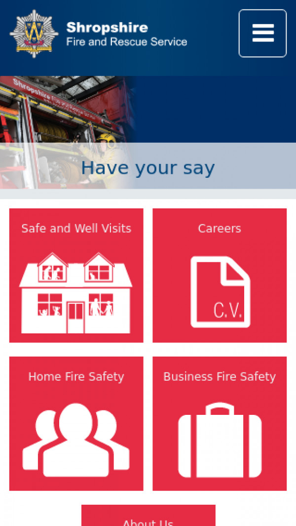 Mobile screenshot of Shropshire Fire and Rescue Service  website