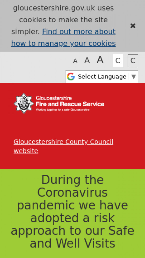 Mobile screenshot of Gloucestershire Fire and Rescue Service  website