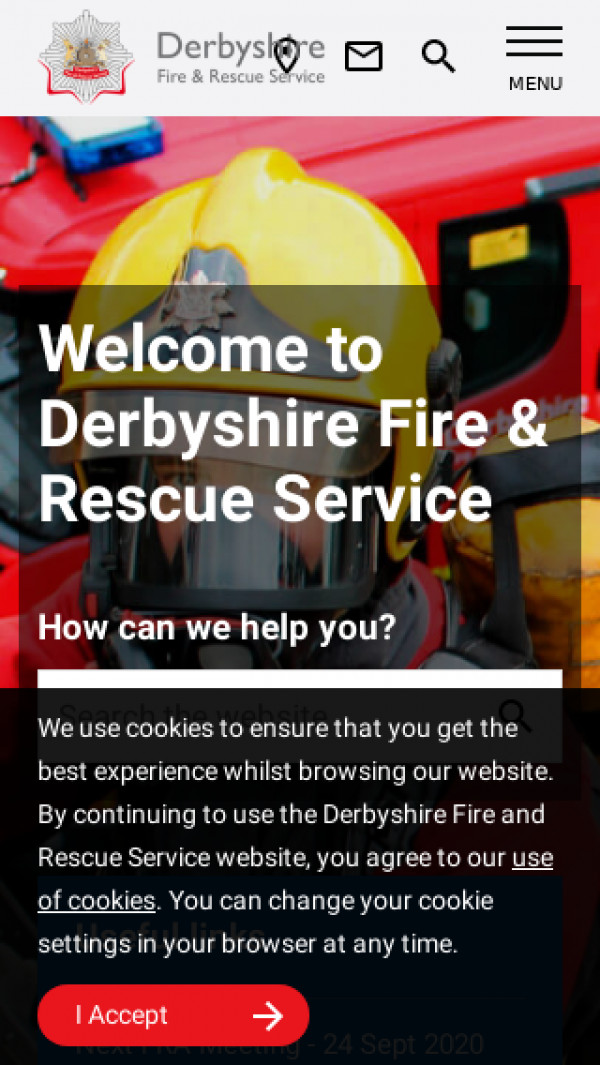 Mobile screenshot of Derbyshire Fire and Rescue Service  website