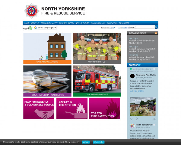 Screenshot of Home - North Yorkshire Fire & Rescue Service