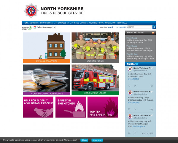 Desktop screenshot of North Yorkshire Fire and Rescue Service  website