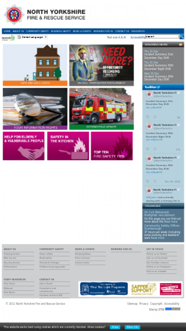 Mobile screenshot of North Yorkshire Fire and Rescue Service  website