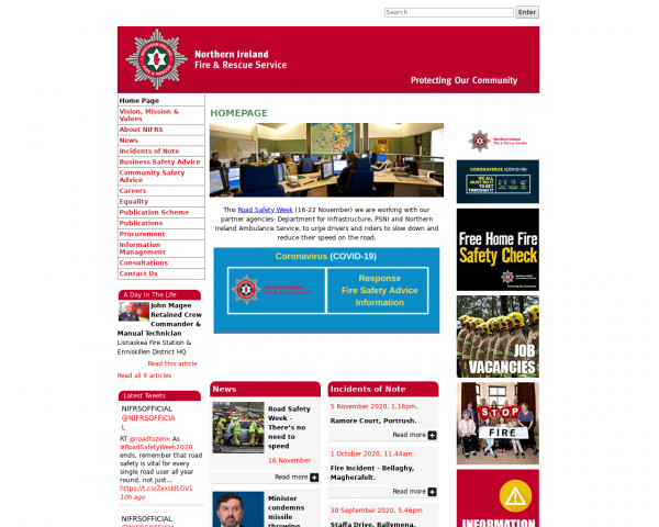 Screenshot of Home Page - Northern Ireland Fire & Rescue Service