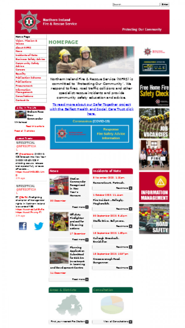 Mobile screenshot of Northern Ireland Fire and Rescue Service  website