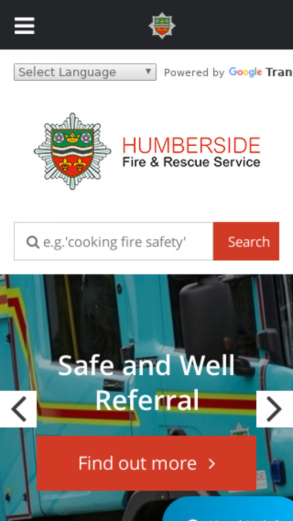 Mobile screenshot of Humberside Fire and Rescue Service  website
