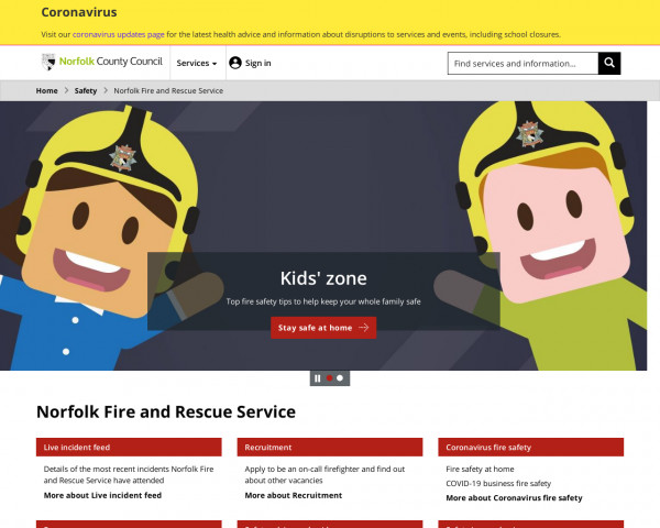 Desktop screenshot of Norfolk Fire and Rescue Service  website