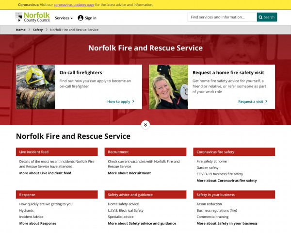 Screenshot of Norfolk Fire and Rescue Service