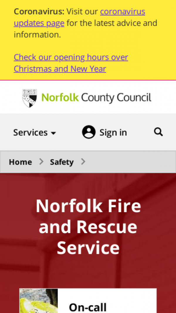Mobile screenshot of Norfolk Fire and Rescue Service  website
