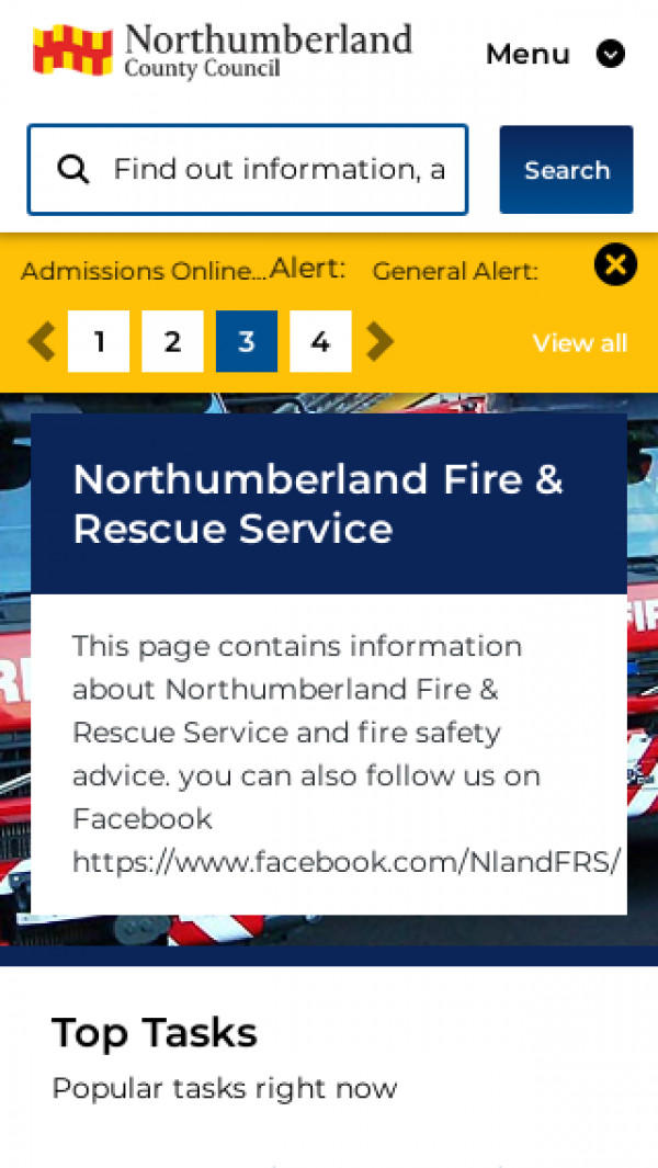 Mobile screenshot of Northumberland Fire and Rescue Service  website