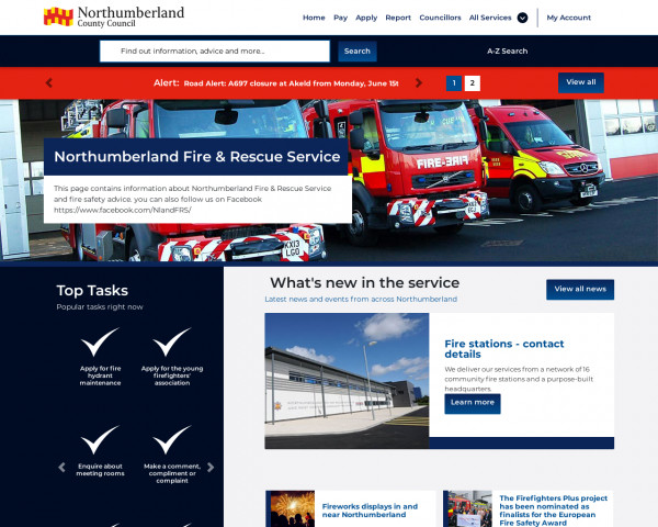 Desktop screenshot of Northumberland Fire and Rescue Service  website