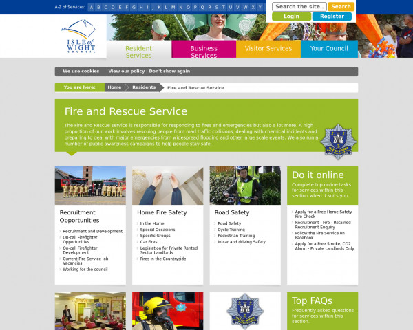 Desktop screenshot of Isle of Wight Fire and Rescue Service  website