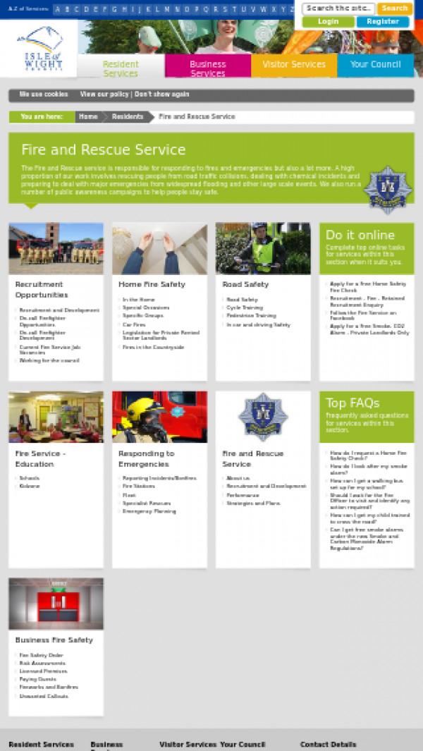 Mobile screenshot of Isle of Wight Fire and Rescue Service  website