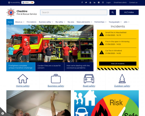 Desktop screenshot of Cheshire Fire and Rescue Service  website