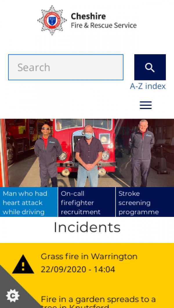 Mobile screenshot of Cheshire Fire and Rescue Service  website