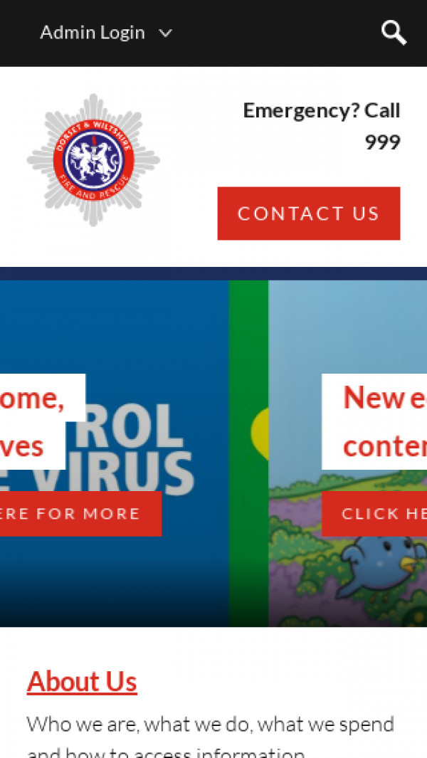 Mobile screenshot of Dorset & Wiltshire Fire and Rescue Service  website