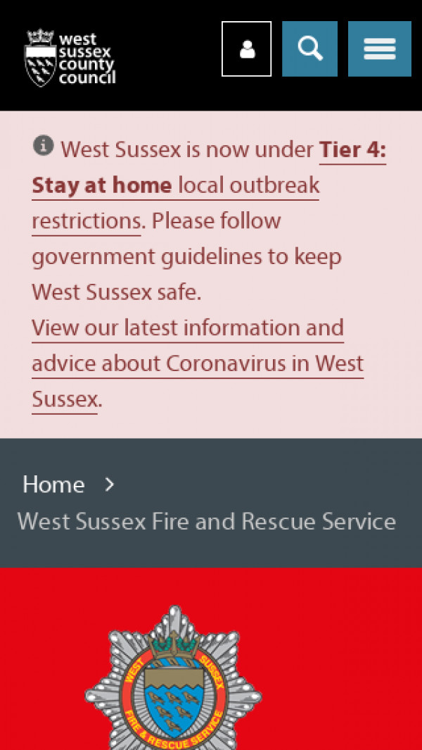 Mobile screenshot of West Sussex Fire and Rescue Service  website
