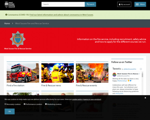Desktop screenshot of West Sussex Fire and Rescue Service  website