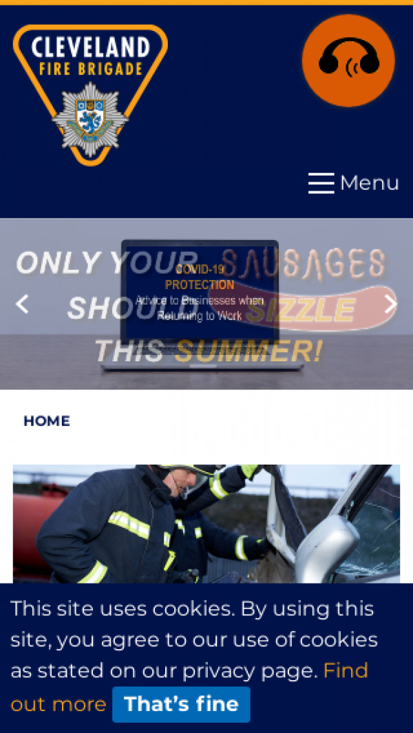 Mobile screenshot of Cleveland Fire and Rescue Service  website
