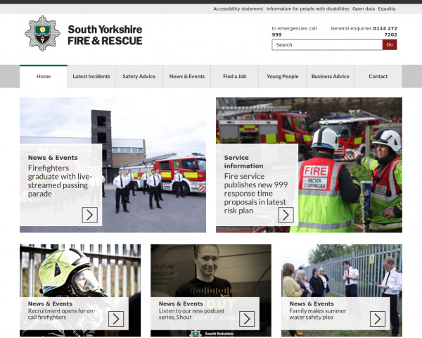 Desktop screenshot of South Yorkshire Fire and Rescue Service  website
