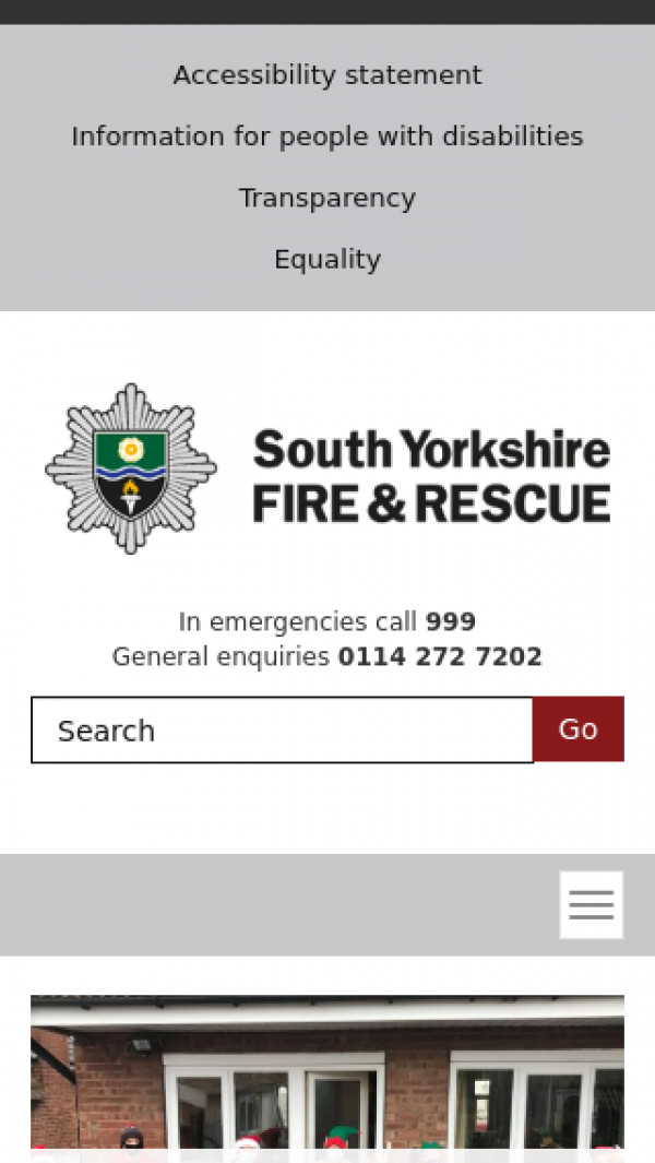 Mobile screenshot of South Yorkshire Fire and Rescue Service  website