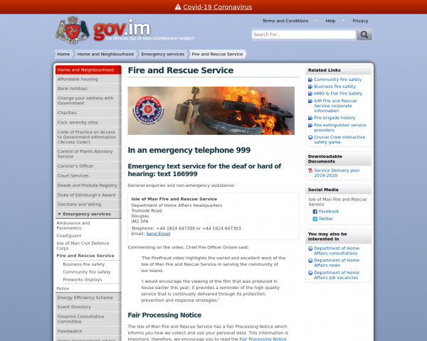 Desktop screenshot of Isle of Man Fire and Rescue Service  website