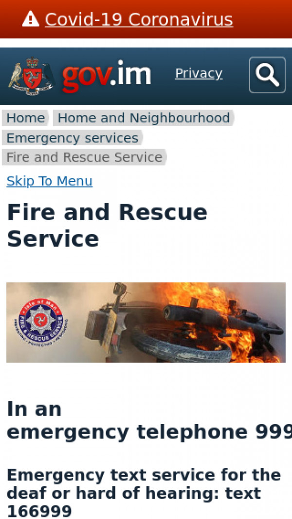 Mobile screenshot of Isle of Man Fire and Rescue Service  website