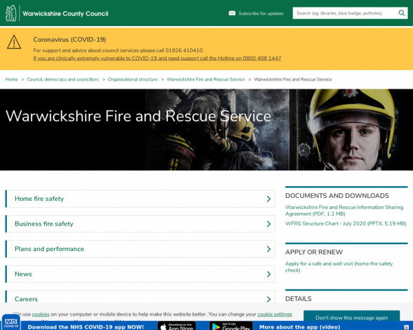 Screenshot of Warwickshire Fire and Rescue Service – Warwickshire County Council