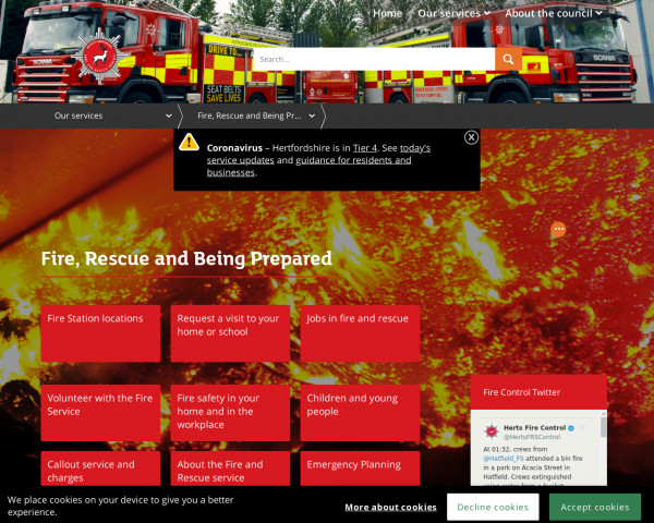 Desktop screenshot of Hertfordshire Fire and Rescue Service  website