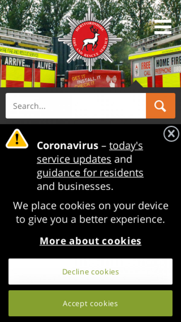 Mobile screenshot of Hertfordshire Fire and Rescue Service  website