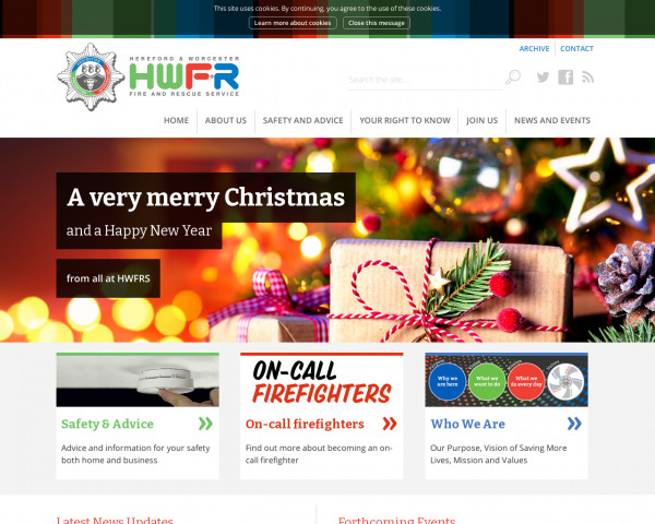 Desktop screenshot of Hereford and Worcester Fire and Rescue Service  website