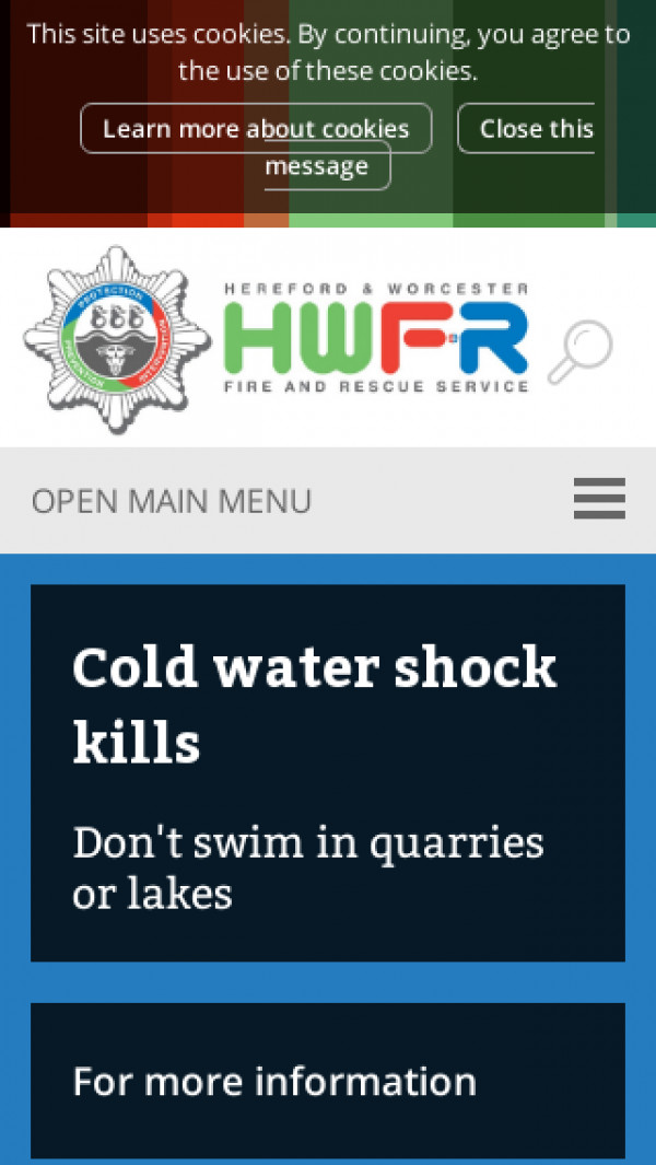 Mobile screenshot of Hereford and Worcester Fire and Rescue Service  website