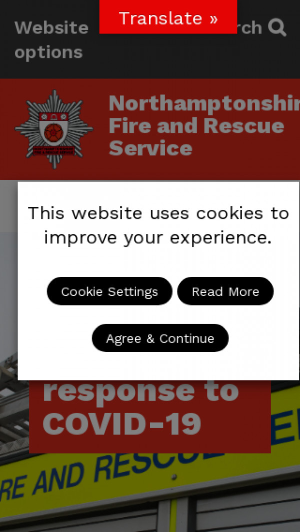 Mobile screenshot of Northamptonshire Fire and Rescue Service  website