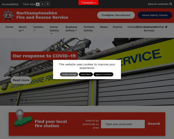 Desktop screenshot of Northamptonshire Fire and Rescue Service  website