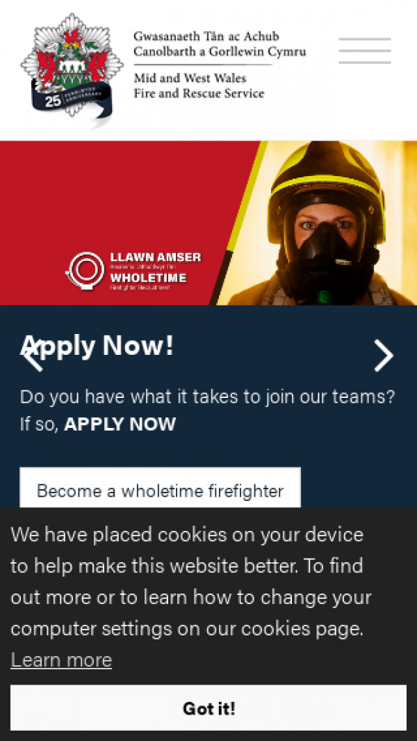Mobile screenshot of Mid and West Wales Fire and Rescue Service website