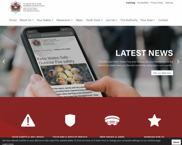 Desktop screenshot of Mid and West Wales Fire and Rescue Service website