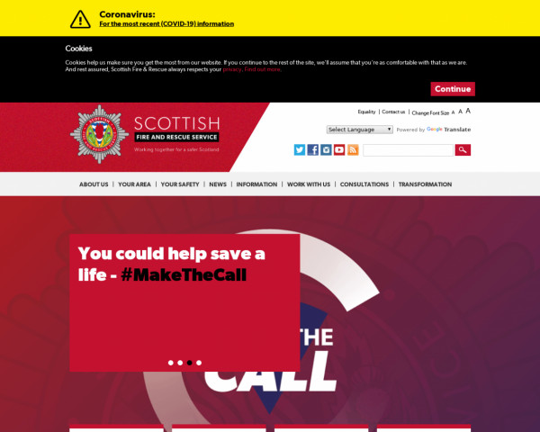 Desktop screenshot of Scottish Fire and Rescue website