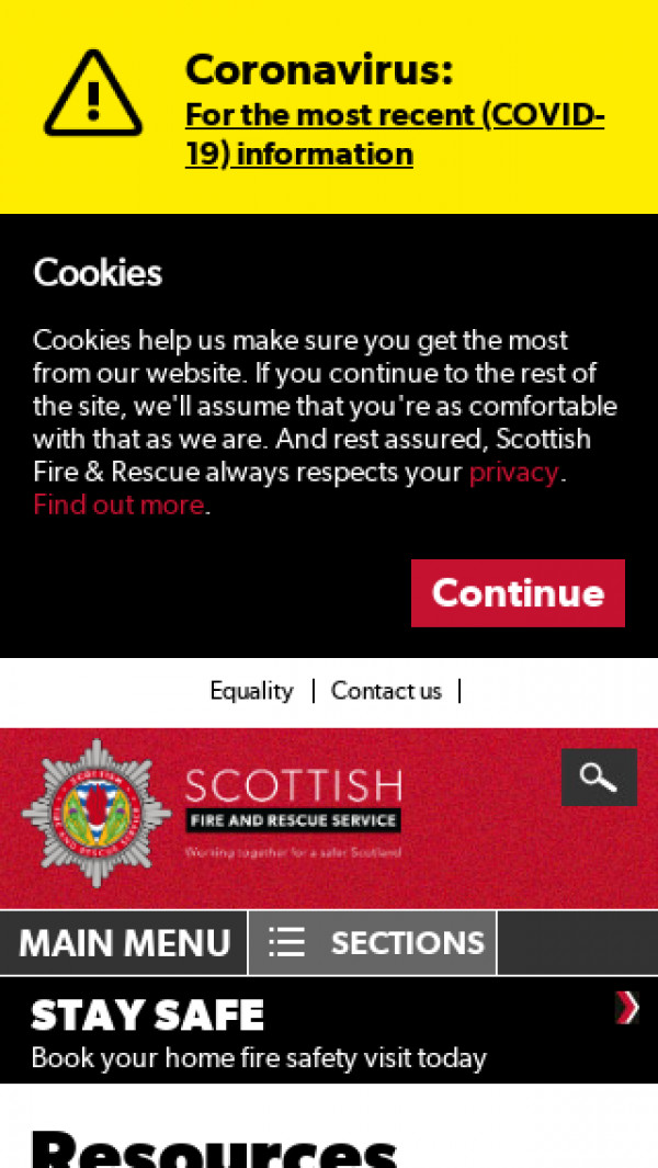 Screenshot of SFRS Homepage - Working together for a safer Scotland