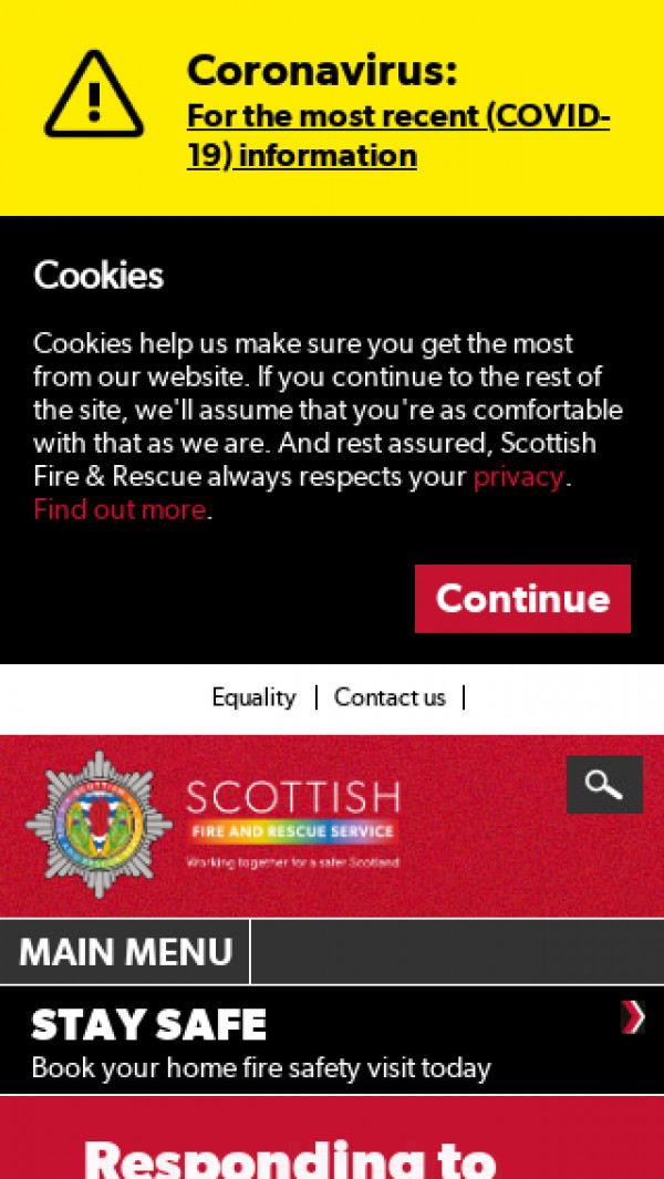 Mobile screenshot of Scottish Fire and Rescue website