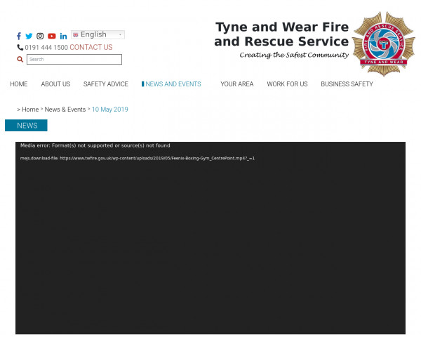 Screenshot of Tyne and Wear Fire and Rescue Service
