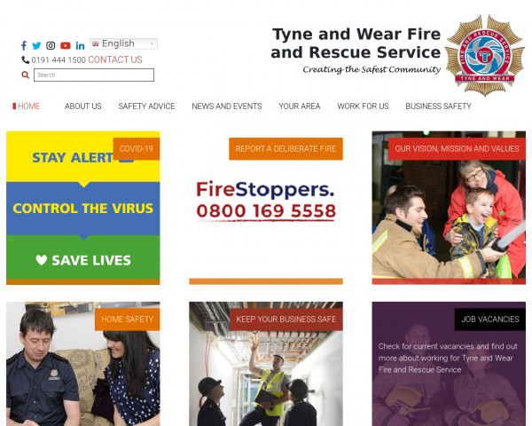 Desktop screenshot of Tyne and Wear Fire and Rescue Service  website