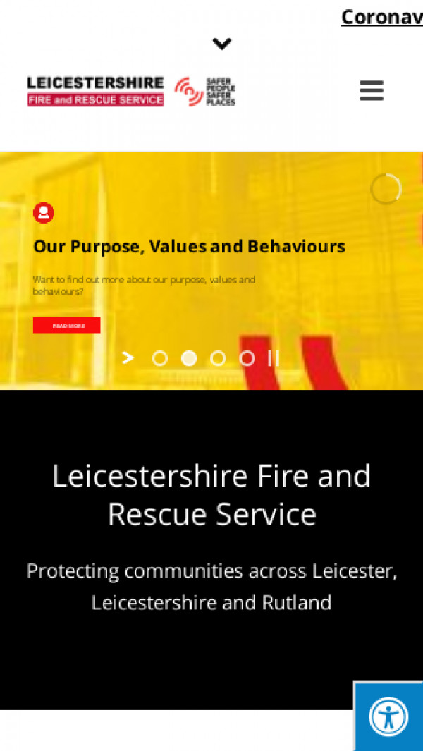 Mobile screenshot of Leicestershire Fire and Rescue Service  website