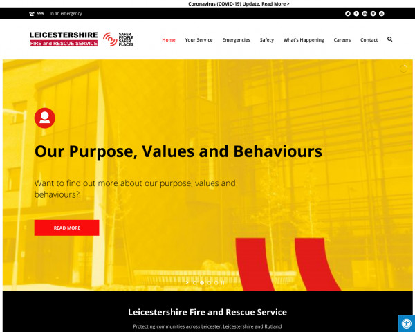 Desktop screenshot of Leicestershire Fire and Rescue Service  website