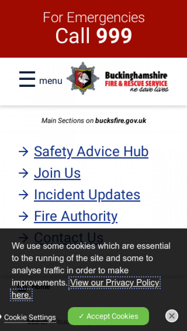 Mobile screenshot of Buckinghamshire Fire and Rescue Service  website