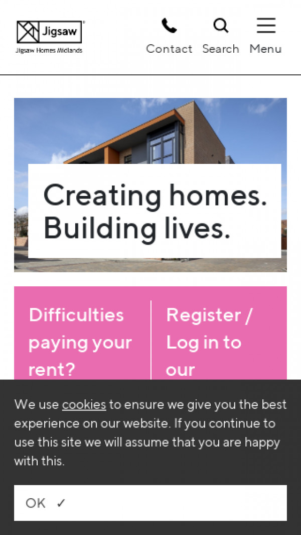 Mobile screenshot of Jigsaw Homes Midlands website