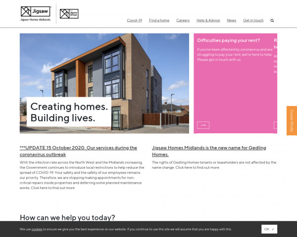 Screenshot of Homepage - Jigsaw Midlands