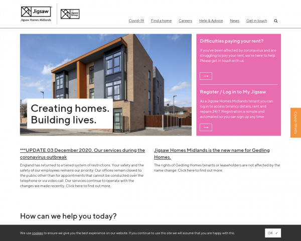 Desktop screenshot of Jigsaw Homes Midlands website