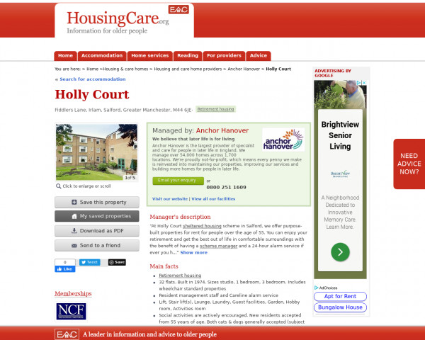 Screenshot of Holly Court, Salford, Greater Manchester, M44 6JE | Sheltered housing, retirement housing, supported housing for older people