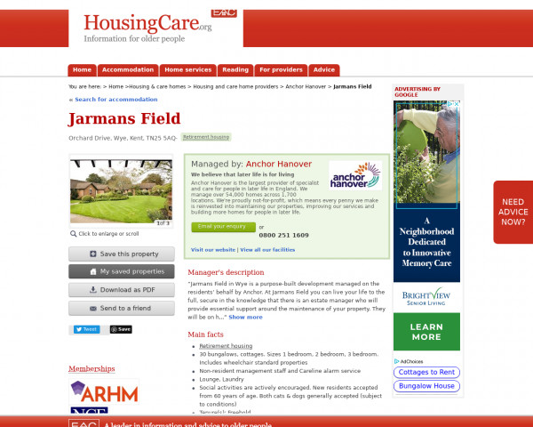 Screenshot of Jarmans Field, Ashford, Kent, TN25 5AQ | Sheltered housing, retirement housing, supported housing for older people