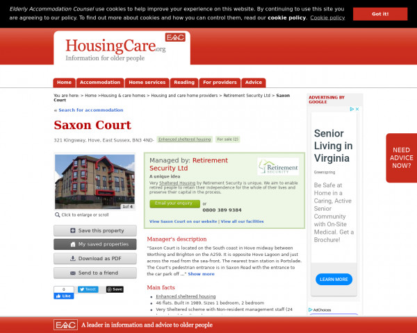 Screenshot of Saxon Court, Brighton & Hove, East Sussex, BN3 4ND | For sale | Extra care housing, assisted living, close care, continuing care housing